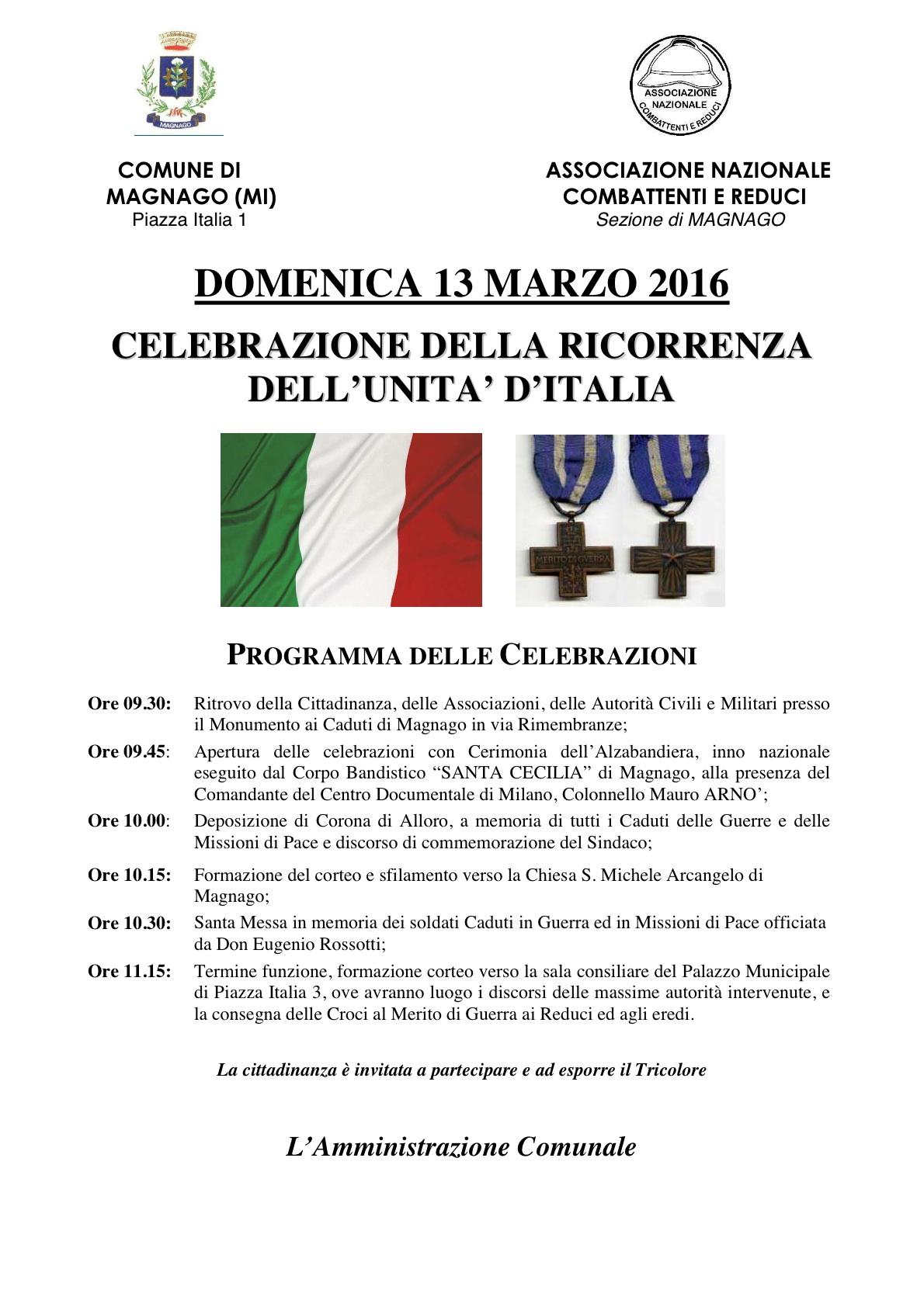 Programma celebrazioni MAGNAGO 13.03.2016