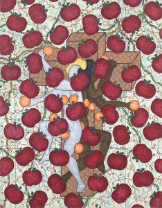 William N. Copley Untitled (Apples and Oranges), 1986 Acrylic and lace on canvas 195.6 x 152.4 cm Courtesy William N. Copley Estate and Paul Kasmin Gallery, New York