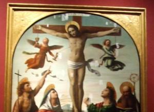 Ortolano (Giovanni Battista Benvenuti), La Crocifissione con la Vergine e i Santi Giovanni Battista, Maddalena, Giovanni Evangelista ed Agostino