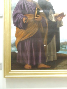 Giovanni Gerolamo Savoldo, Madonna in gloria con il Bambino, due angeli musicanti e i Santi Pietro, Domenico, Paolo e Girolamo. (Pala Pesaro)