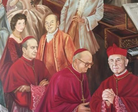 cardinali Martini, Nicora, Colombo con Achille Colombo Clerici ed i suoi genitori